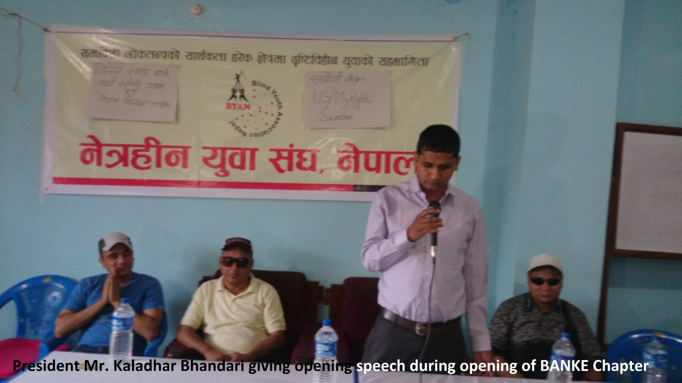 Mr. Kaladhar Bhandari, President of BYAN, speaking in a program
