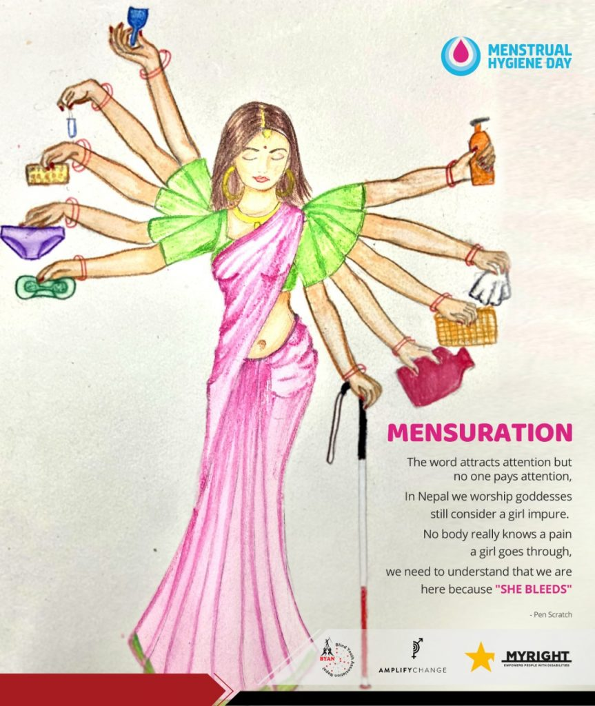 A women with 10 hands holding the sanitery kits like mensural cup, pads, tampoon and soaps and senitizer