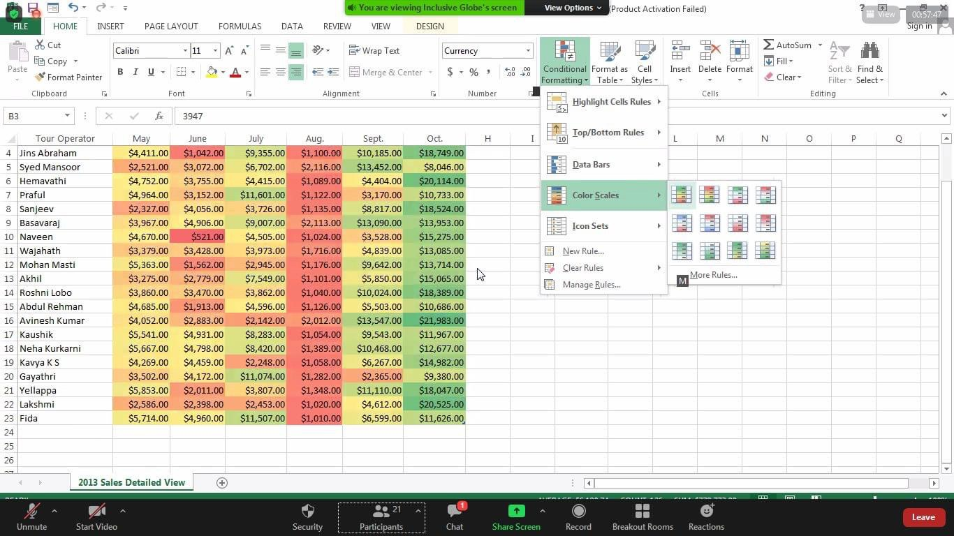 Excel working sheet of blind youth